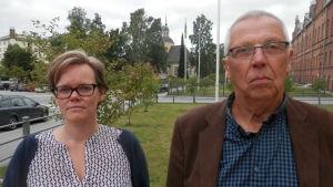 Chefläkare och tf sjukvårdsdirektör Pia-Maria Sjöström och sjukvårdspolitiker Henrik Sandberg (SFP)