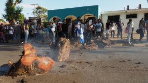 Studerande demonstrerar i Nicaragua.