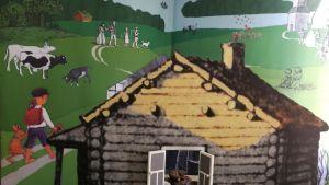 """En del av Alexander Reichsteins collage under temat """"På landet"""", med verk av Venny Soldan-Brofeldt. Ur Läsning för barn. WSOY 1904-1907."""