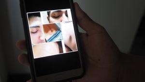 Mobilbild på Robertos skottskador.