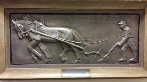 En bonde med sin häst på åkern (tavla).