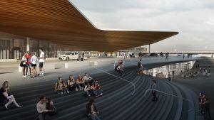 Visualisering av hur rampen till den nya huvudingången på Helsingfors-Vanda flygplats ska se ut.