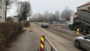 Provisoriska trafikarrangemang vid Brändövägen i Vasa.