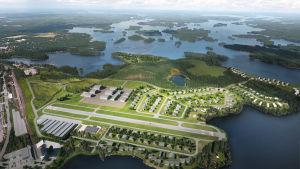 Havainnekuva tulevasta Airpark-alueesta Mänttä-Vilppulassa