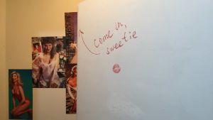 Kvinnobilder på väggen i en toalett.