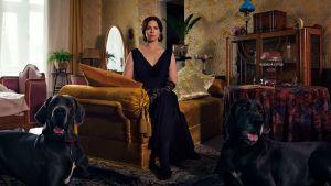 Maria Åkerblom (Pihla Viitala) sitter i en soffa, på golvet ligger två svarta, stora grand danois hundar.