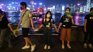 Unga demonstrerar i Hongkong, i bakgrunden ses vatten och Hongkong ljus.