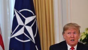 USA:s president Donald Trump talar bredvid en Nato-flagga