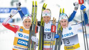 Therese Jihaug, Frida Karlsson, och Ebba Andersson.