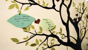 """Två handskrivna lappar uppklistrade på ett målat träd på en vägg. På lapparna står det: """"Don't believe everything you think"""" och """"storms don't last forever""""."""