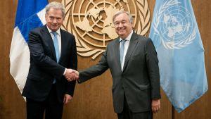 President Sauli Niinistö och FN:s generalsekreterareAntonio Guterres träffades på söndagen den 22 september i New York.