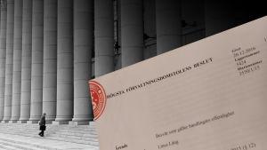 Bildkollage: person som går uppför riksdagshusets trappor och Högsta förvaltningsdomstolens beslut.