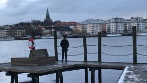 En person står på en brygga och ser ut över vattnet och Stockholm.