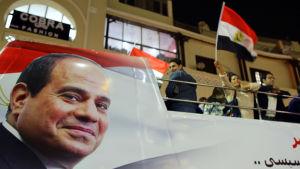 Banderoll med bild på Egyptens president al Sisi