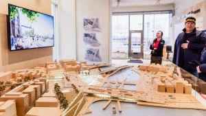 Miniatyrmodell av Slussen när bygget är klart.