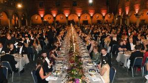 Ett av borden vid galamiddagen på Nobelfesten 2018.