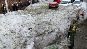 Staden Guadalajara begravdes i hagel.