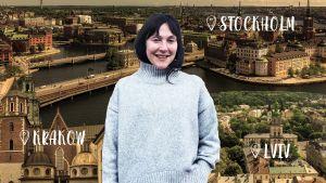 Natalie Ringler i en grå tröjja. I bakgrunden ett kollage med stadsbilder från Stockholm, Lviv och Krakow.
