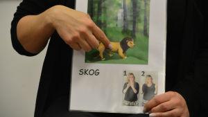 Sandra håller i ett ark med ett lejon på och där det står skog. Sandra visar tecknet för skog.