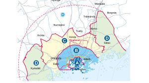 Grafik över zonerna i kollektivtrafiken i huvudstadsregionen.