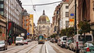 En spårvagn mitt på en trång gata i Bryssel. En vit, gammal, pampig byggnad i bakgrunden.