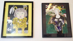 Två målningar av Nina Albrecht