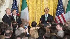 Firande av St Patricks Day i Vita Huset med president Barack Obama, vicepresident Joe Biden och Irlands premiärminister Enda Kenny.