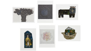 Rut Brykin teoksilla kuvitettuja postikortteja