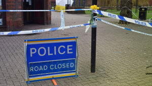 Polisavspärrning i Salisbury där den ryska ex-spionen Sergej Skripal förgiftades.
