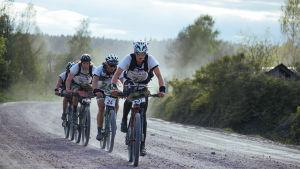 Fyra terrängcyklister på en dammig grusväg.