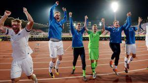 Finlands spelare jublar efter segern mot Ungern.
