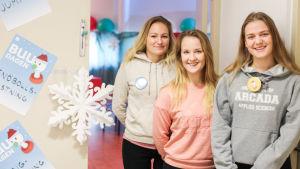 Isabel Åberg, Jasmine Stubbe och Sille-Riin Rajala, studerande på Arcada.