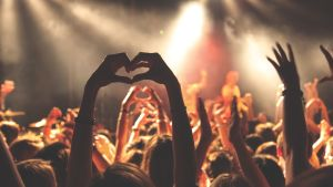 Konsertpublik har händerna i luften.