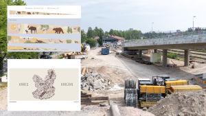 Ett kollage där bilder på muralmålningsmotiv och ett järnvägsbygge kombinerats.