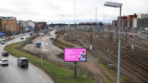 Järnvägsspår på Åbo bangård.