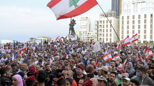Protester mot regeringen i Libanon