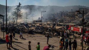Moria flyktingläger efter bränderna 9.9.2020.