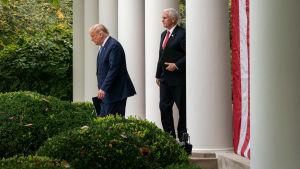 Yhdysvaltain presidentti Donald Trump saapumassa tiedotustilaisuuteen Valkoisen talon puutarhaan perässään varapresidentti Mike Pence.