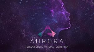Aurora-tapahtuman graafinen kuva, jossa ihminen katsoo eteenpäin. Ei valokuva.