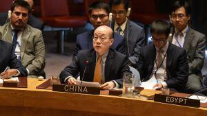 Kinas FN-ambassadör Liu Jieyi vid FN:s säkerhetsråds krismöte den 4 september 2017 med anledning av Nordkoreas senaste kärnvapentest.