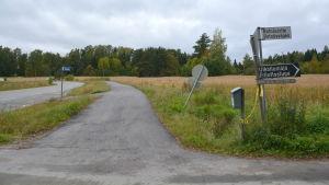 Korsningen av Rotnäsvägen och Tarkisvägen i Borgå.
