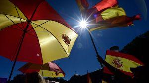 Rödgula demonstranter viftar med flaggor i centrala Madrid.