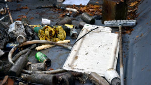 Leriga flaskor, en plastslang, en sopborste och ett värmeelement ligger i en container.