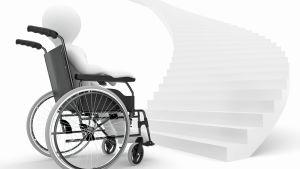 En figur i en rullstol sitter framför en hög trappa.