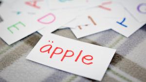 Kort med svenska ord, närmast kameran kort med ordet äpple.