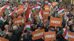 Fideszanhängare på kampanjmöte i partiledaren Viktor Orbáns födelsestad Székesfehérvár.