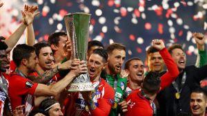 Atletico Madrid-spelarna firar segern i Europa League våren 2018.