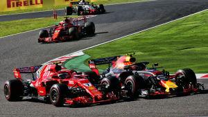 Kimi Räikkönen och Max Verstappen i Suzuka.