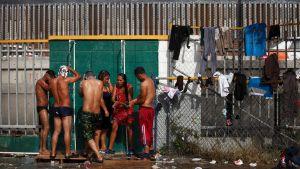 Immigranter i Mexiko. Migranthärbärge i sportcentret Benito Juarez, i Tijuana den 22 november 2018