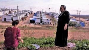 Två kvinnor på en kulle framför ett flyktingläger i norra Irak